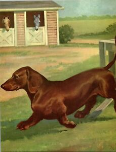 Dachshund-Wiener-Dog-Farm-Scene-Horse-Stables-Wesley-Dennis-Book-plate-print