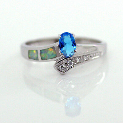 Opal Silver Ring 925 Sterling London Blue Topaz CZ & White w Red Fire Inlay