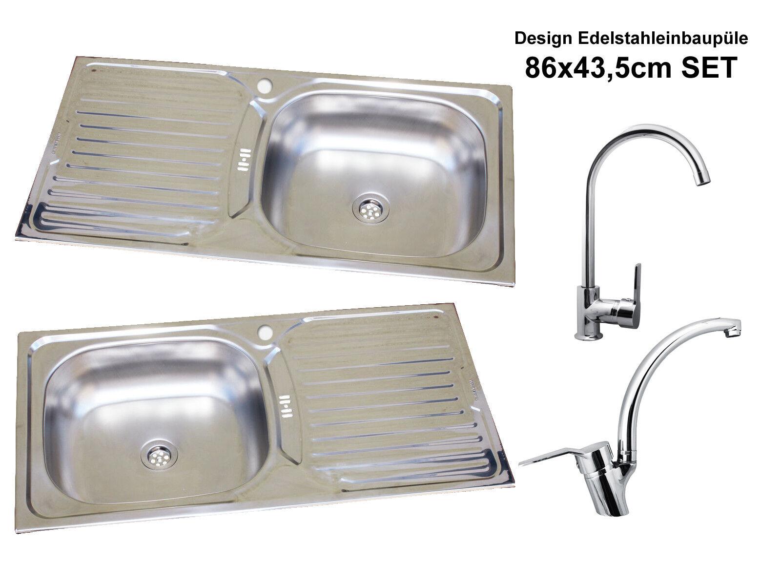 Acero Inox Fregadero Integrado 86cm X 43,5cm Cocina Lavabo de Inoxidable