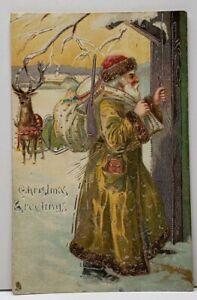 Mustard-Green-Suited-Santa-Claus-Toy-Gun-Sword-Raphael-Tuck-1908-Postcard-F13