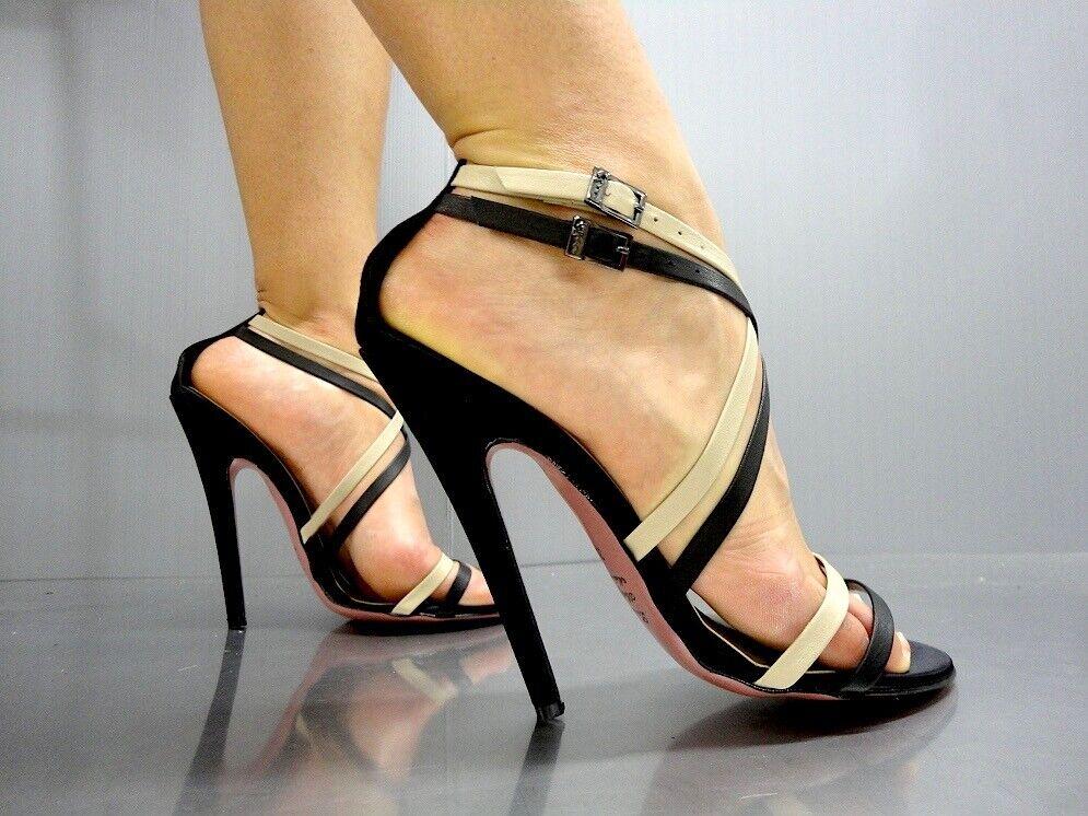Mori Italie Sandals Heels shoes Leather Black black Beige 43