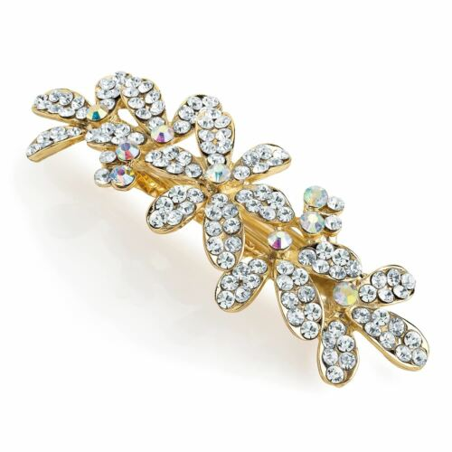 New Ladies Shiny Gold /& Silver Crystal Flower Design Hair Clips Hair Accessories