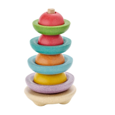 NEW PLAN TOYS STACKING RING SHAPES WOODEN COLOURED ACTIVITY CHILDREN PLAY FUN