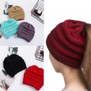 Women-039-s-Ponytail-Beanie-Skull-Cap-Winter-Soft-Stretch-Cable-Knit-High-Bun-Hat