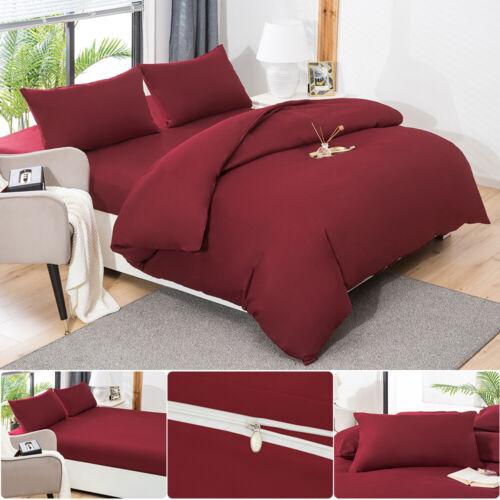MOHAP 4PCS Duvet Quilt Cover Set /& Fitted Sheet /& Pillow Case Double King Size