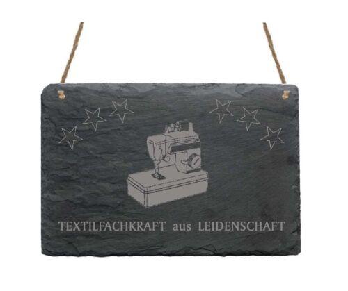 Schiefertafel « TEXTILFACHKRAFT AUS LEIDENSCHAFT » Geschenk Nähmaschine Nähen