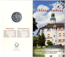 "Österreich, 10 Euro Silbermünze im Blister ""Schloss Ambras"" 2002 Hgh"