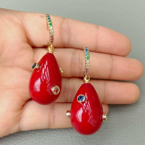 Teardrop Red Sea Shell Pearl Mixed Color CZ Pave Crochet Boucles D/'oreilles