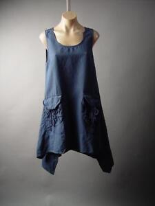 34f459410c Image is loading Linen-Cotton-Lagenlook-Prairie-Handkerchief-Hem-Pinafore -Tent-