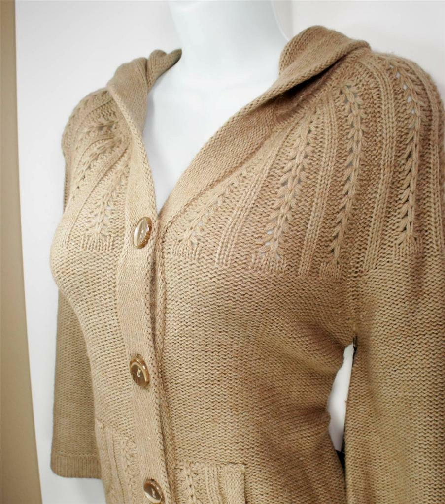 WOMENS BCBG MAX AZRIA SWEATER TAN CAMEL  BUTTON UP hooded 3 4 SLEEVE L LARGE