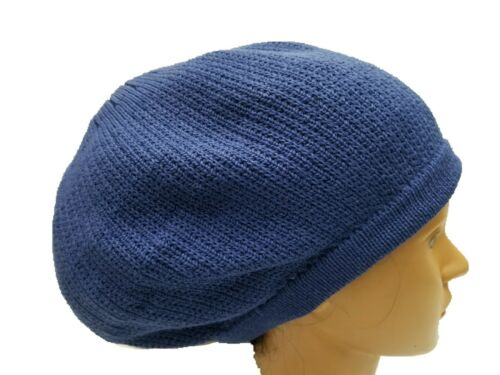 Royal Blue BERET TAM Hat Rasta Slouch Beanie Cap dreadlocks dreads cheveux M//L