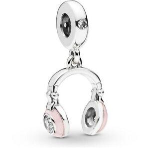 925-Sterling-Silver-Pink-Headphones-Dangle-Charm-Pink-Enamel-F-European-Bracelet