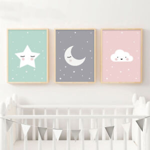 Image Is Loading Moon Star Nursery Quote Canvas Nordic Poster Cartoon