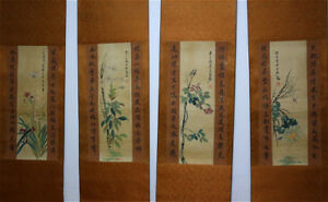 RARE-Chinese-100-Hand-Painting-4-Scrolls-Flowers-amp-Insects-034-By-Qi-baishi-X