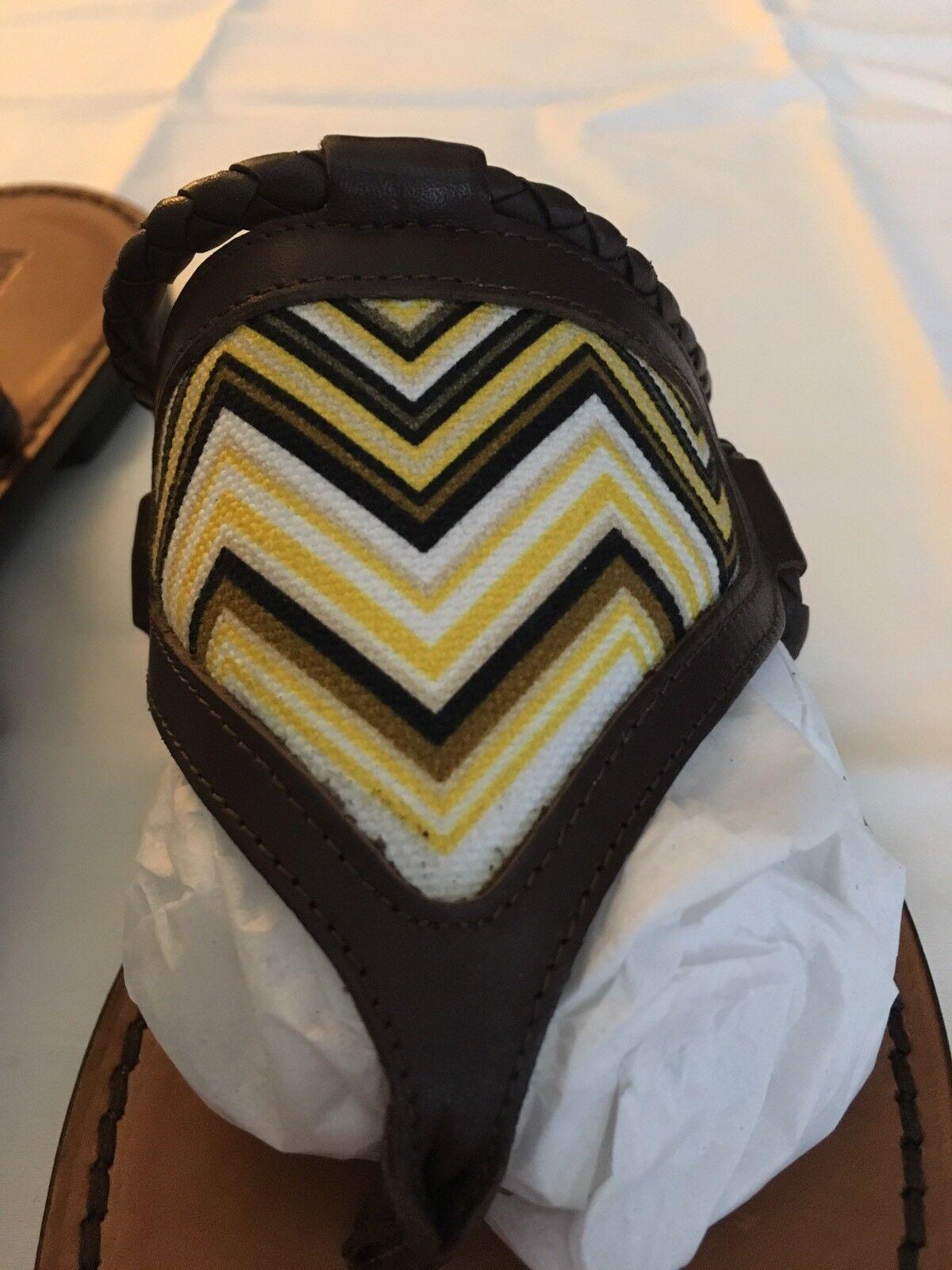 NWT Missoni Stampato Zig Zag Italian  Leder 38 Thong Sandals - EU 38 Leder / US 8 a1bb75