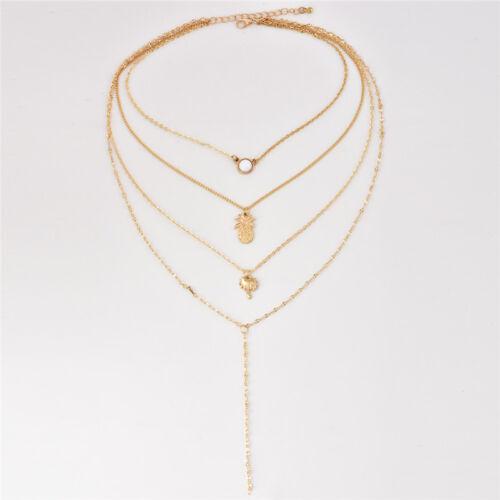 1pcs Women Multilayer Gold Chain Choker Necklace Pineapple Tree Pendant Jewelry