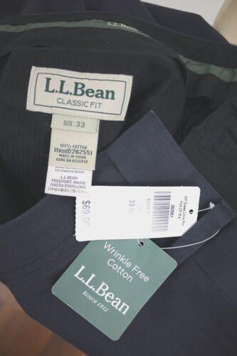 l Wrinkle L Bean in anteriore 33 cotone Nuovo piatto da Size Pantalone uomo q15AxdFw