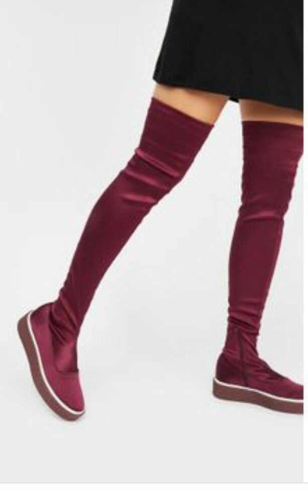 FREE PEOPLE OUTER LIMITS BURGUNDY STRETCH TEXTILE OVER THE KNEE stivali 36   6 NEW