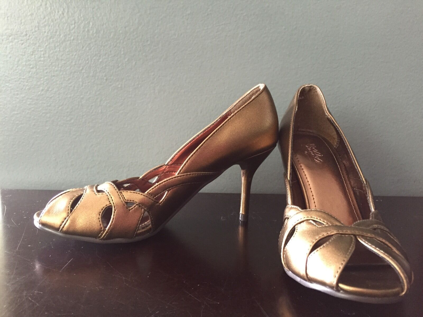 Mossimo Womens Metallic Bronze Open Toe Heels NEW Without 1/2 Tags Size 5 & 1/2 Without 8e15ae