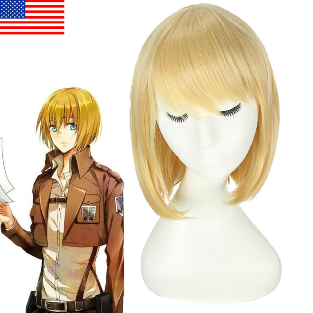 Attack on Titan Erwin Smith Short Blonde With Brown Anime Cosplay Wig E149