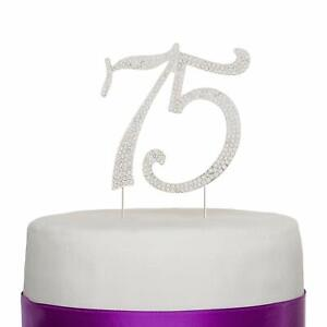 Tremendous 75 Cake Topper For 75 Birthday Or Anniversary Party Crystal Funny Birthday Cards Online Elaedamsfinfo