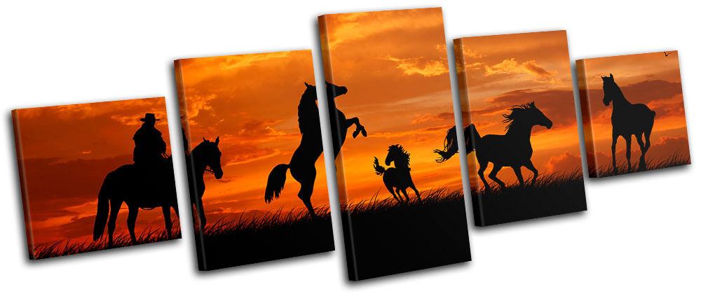Horses Cowboy Sunset Animals MULTI MULTI MULTI LONA pa rojo  arte Foto impresion dbb0d8