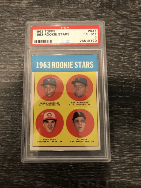 1963 Topps Pete Rose Graded PSA 6 EX-MT #537 Baseball Card. Free shipping!