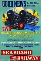 1930s Seaboard Airline Florida Vintage Railroad Travel Advertisement Poster