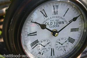 nostalgie antik stil wanduhr uhr metalluhr old town clocks london new york rund ebay. Black Bedroom Furniture Sets. Home Design Ideas