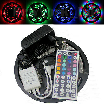 16.4ft 2835 RGB 300 LED Strip Ligth Waterproof+44Key Remote+12V Power Supply
