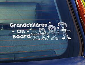 Static Cling Window Car Sign//Decal Grandchildren On Board 4 Children 2 llll