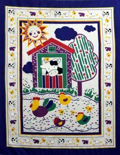 Baby Farm Animal Barn Quilt top Panel Fabric 100/% Cotton Apple tree Cow chicks
