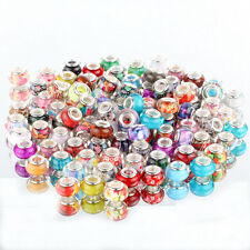 50pcs multicolor SILVER MURANO bead LAMPWORK fit European Charm Bracelet DIY