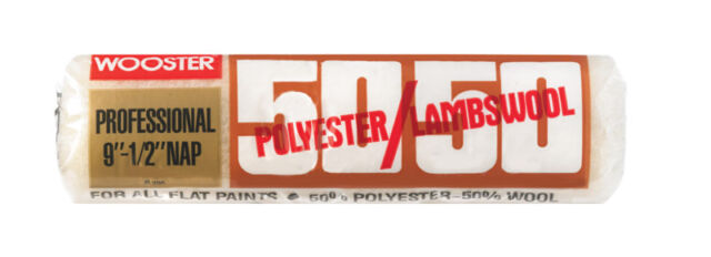 L x 9 in Wooster  50//50  Lambswool Polyester  Paint Roller Cover  1//2 in W