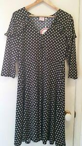 NEW-Leona-Edmiston-StoneTear-drop-tie-neck-ruffle-dress-size-14