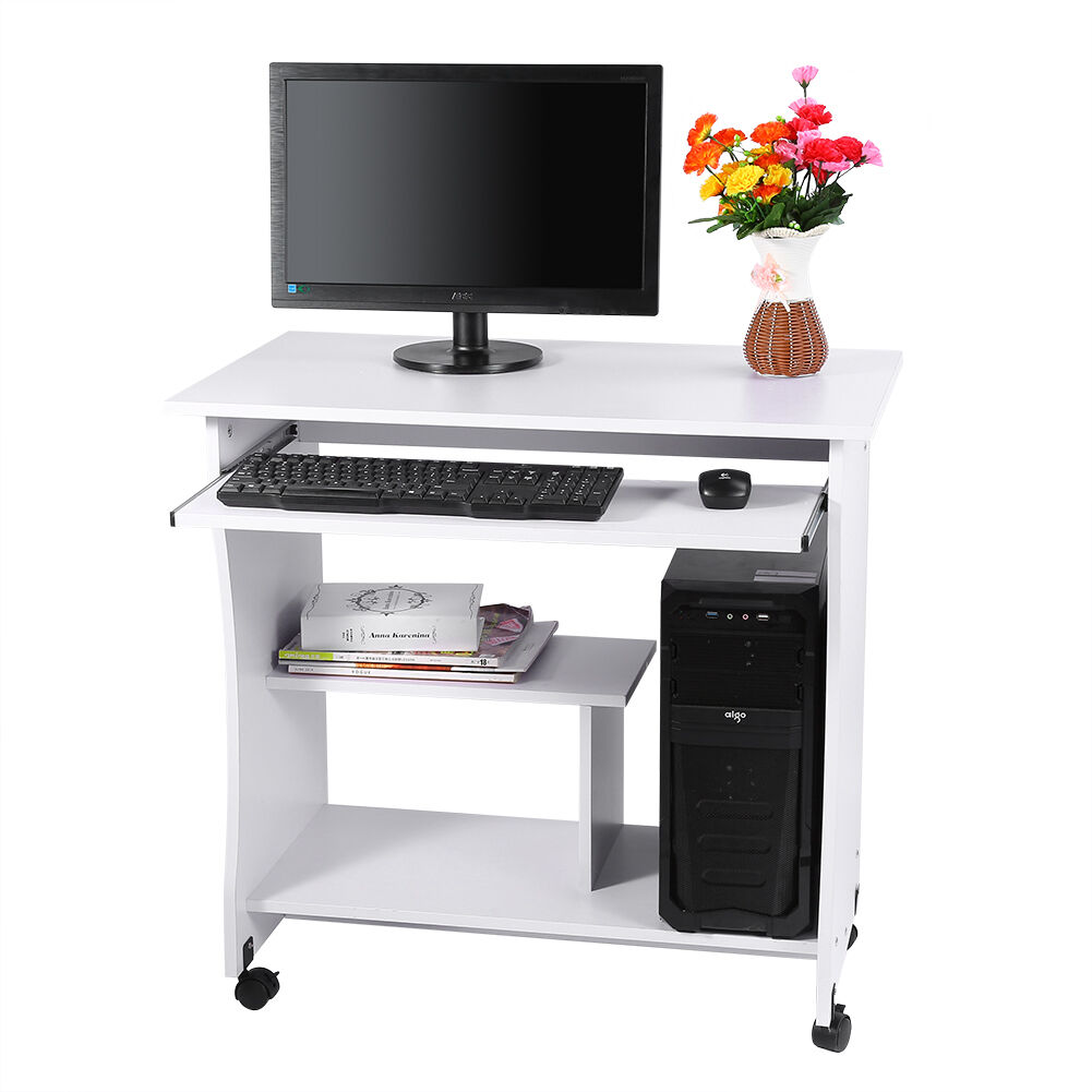 Attractive Small Pc Table Part - 10: Wooden Computer Trolley Desk Keyboard Storage Shelves Home Office Small PC  Table
