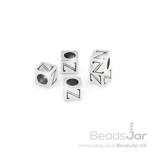 C65//26 Alphabet Letter Beads /'Z/' Silver Metal Cube Charm 7mm Pack of 5