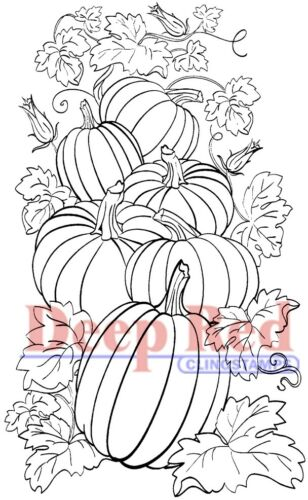 Deep Red Stamps Pumpkin Patch Rubber Cling Stamp