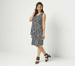 Susan-Graver-Regular-Liquid-Knit-Sleeveless-Tiered-Dress-SIZE-M-Black-Zebra