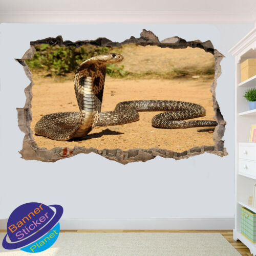 WILDLIFE KING COBRA SNAKE WALL STICKER 3D ART POSTER ROOM DECOR DECAL MURAL YX5