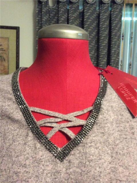 41c7958f20e New JENNIFER LOPEZ dusty rose strappy v neck tee sweater XL marcasite  studded