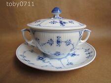 Royal COPENHAGEN aspirate Plain Blu scanalata Crema Zuppa e Piattino (Ref710)