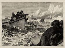 WALRUS HUNTING SHOOTING IN GREENLAND WITH HARPOON GUN MOUNTED ON BOAT 1875 Print