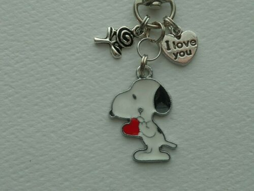 PEANUTS SNOOPY WITH HEART FLOWER LOVE YOU KEY CHAIN CLIP FOR PURSE FOB BACKPACK