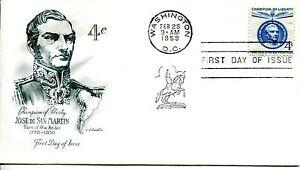 En Herbe 1959 Champion De Liberty 4 Cent Jose De San Martin Artmaster Cachet Unaddr Fdc Et Aide à La Digestion