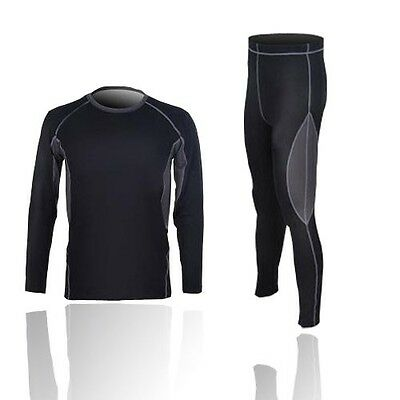 Mens Thermal Compression Base Layer Winter Under Wear Long Sleeve Shirts+Pants