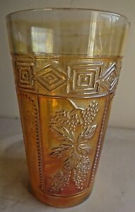 Vintage-Carnival-Glass-Tumblers-Muscadine-Jain-Glass-Works-India-Rare-Col-59-F