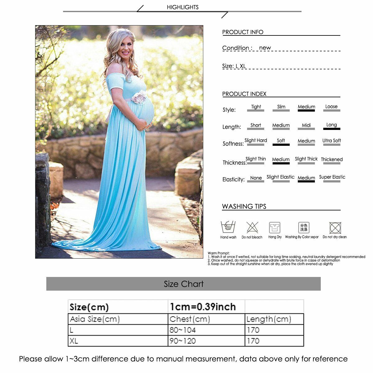 f3af49dd8c423 US Pregnant Women Cotton Gown Maxi Dress Wedding Party Prop Dresses  Photography 4 4 of 8 ...