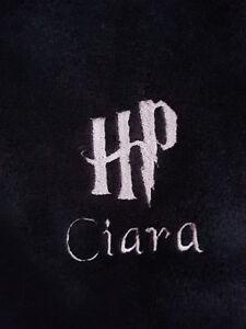 Harry Potter Logo personalised Dressing Gown Robe Mens Womens Black Fleece HP