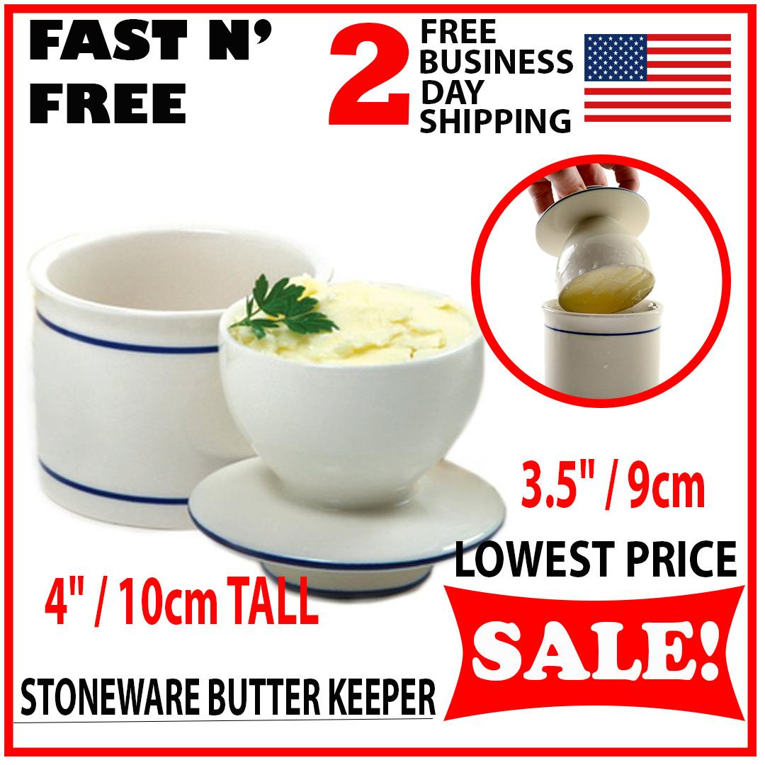 Butter Dish Crock French Bell Stoneware Porcelain Keeper Ceramic Storage Glazed